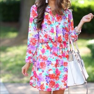 NWT Charles Henry Floral Bright Long Sleeve Dress